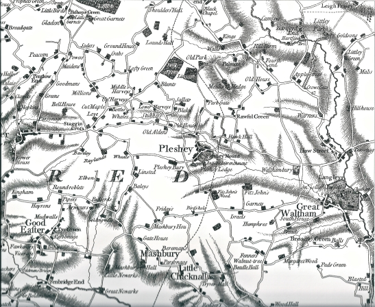 1773 map of the area North West of Chelmsford